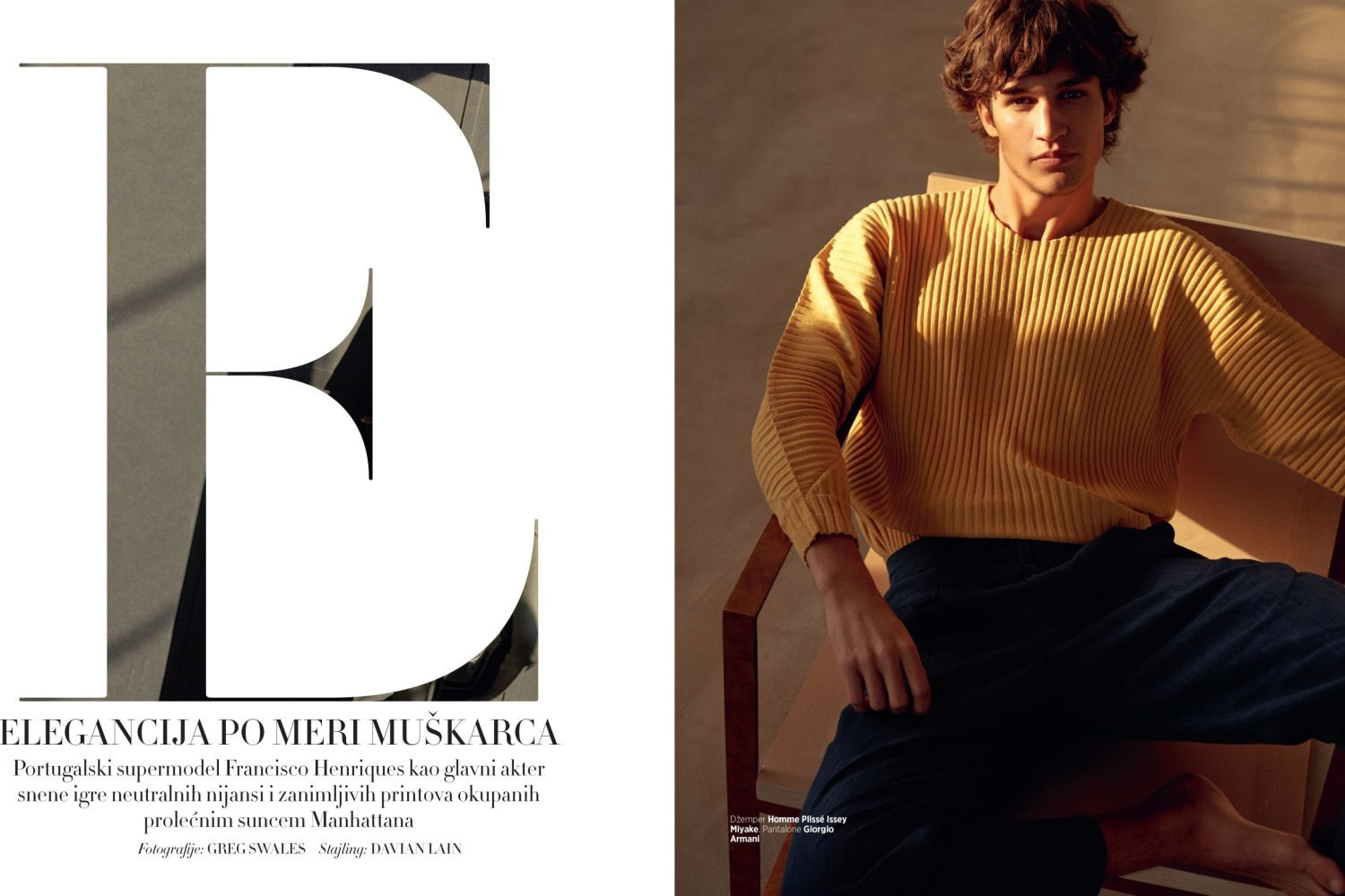 FRANCISCO H FOR HARPER`S BAZAAR MAN BY GREG SWALES STYLING: DAVIAN LAIN