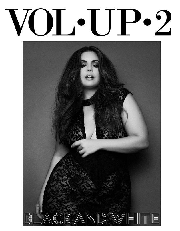 Curve-fashion-model-Fluvia-Vol-up-2-magazine-black-and-white-editorial-top-London-modelling-agency-IMM