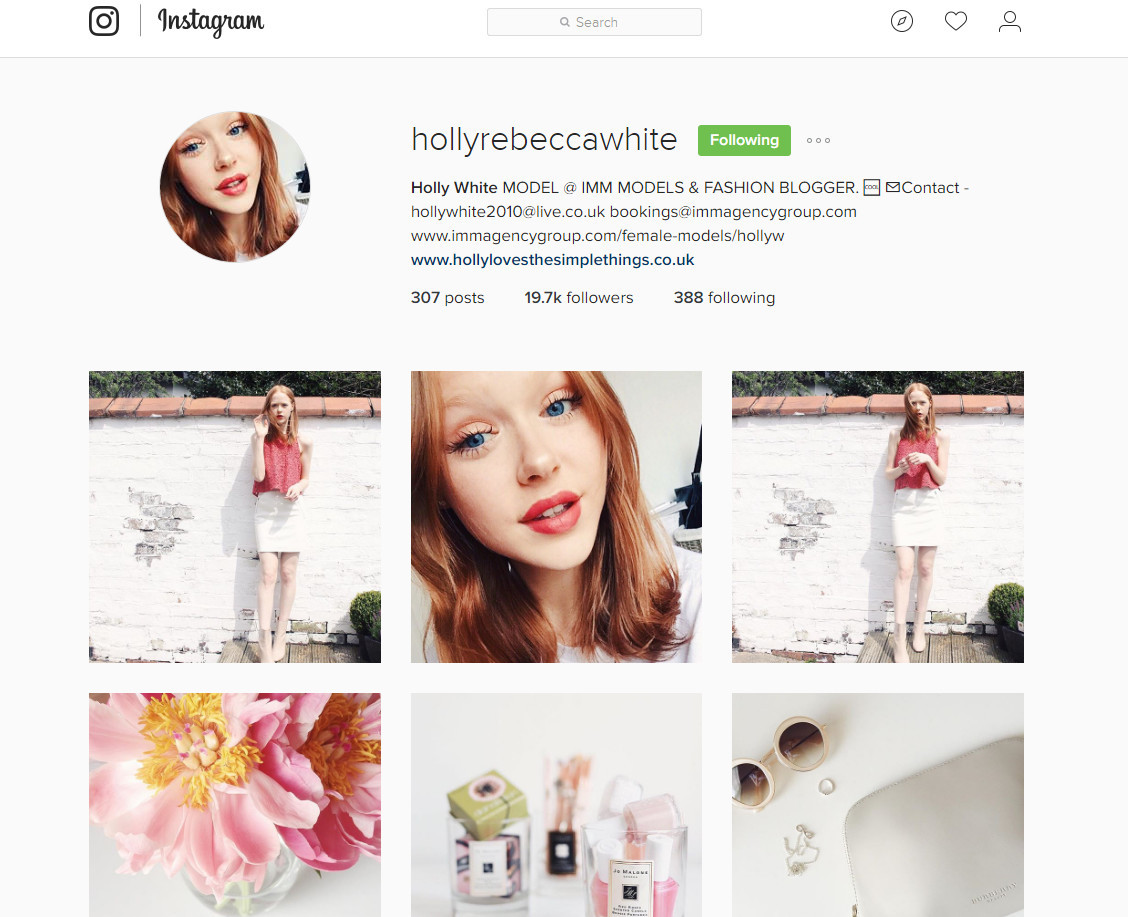 Fashion-model-blogger-Holly-top-ten-IMM-model-instagrams-to-follow-leading-London-modelling-agency-IMM