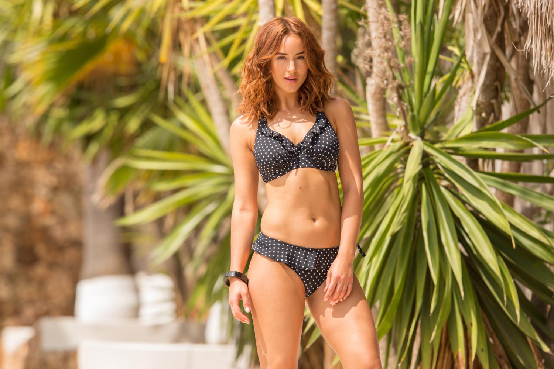 Swimwear-model-Rosie-Jones-polka-dot-bikini-Pour-Moi-Summer-campaign