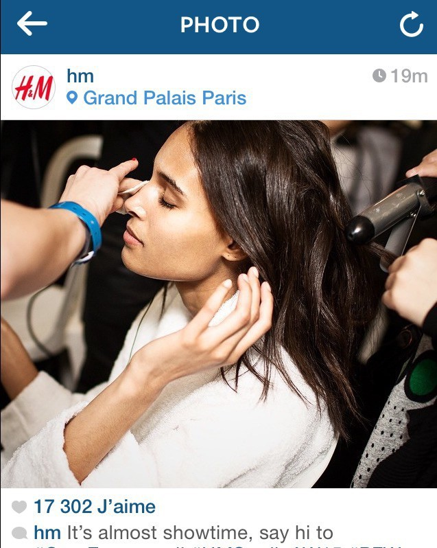 Cindy Bruna backstage for H&M AW15/16 show