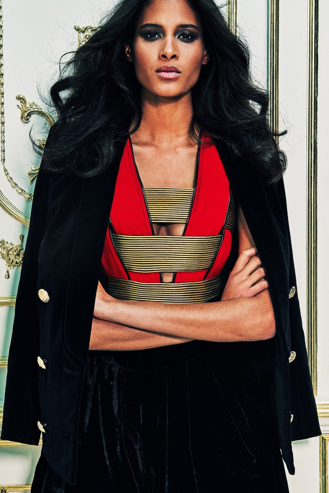 Cindy Bruna for BALMAIN Pre-Fall 2015 collection