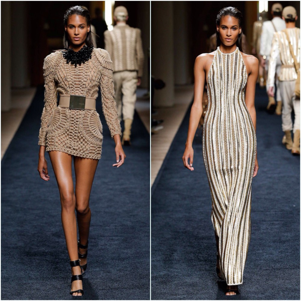 Cindy Bruna for Balmain SS16 Menswear show