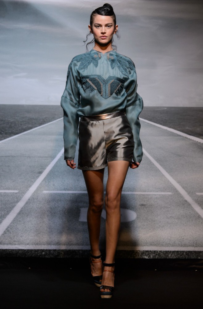 Jessica O for Bernard Chandran PFW SS16