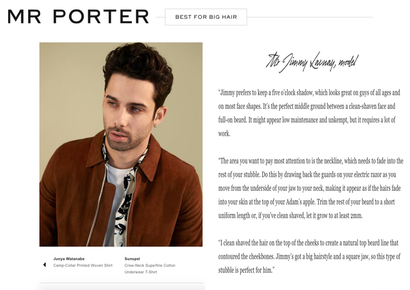 JIMMY FOR MR PORTER