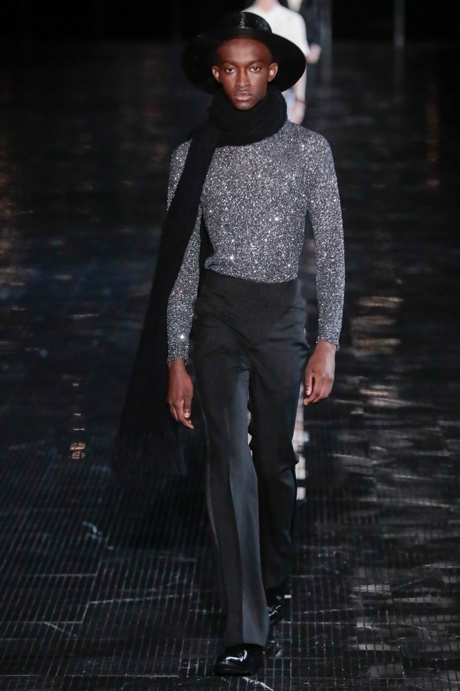CHEIKH FOR SAINT LAURENT SS19 MEN'S SHOW IN NY