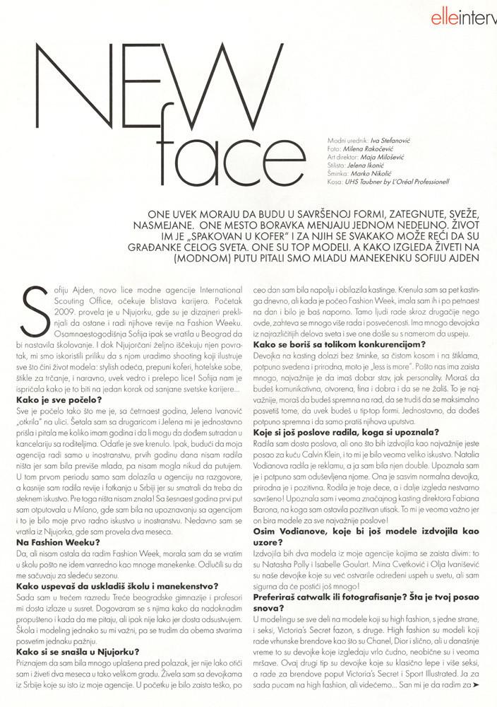 ELLE-Sofija Milosevic intervju
