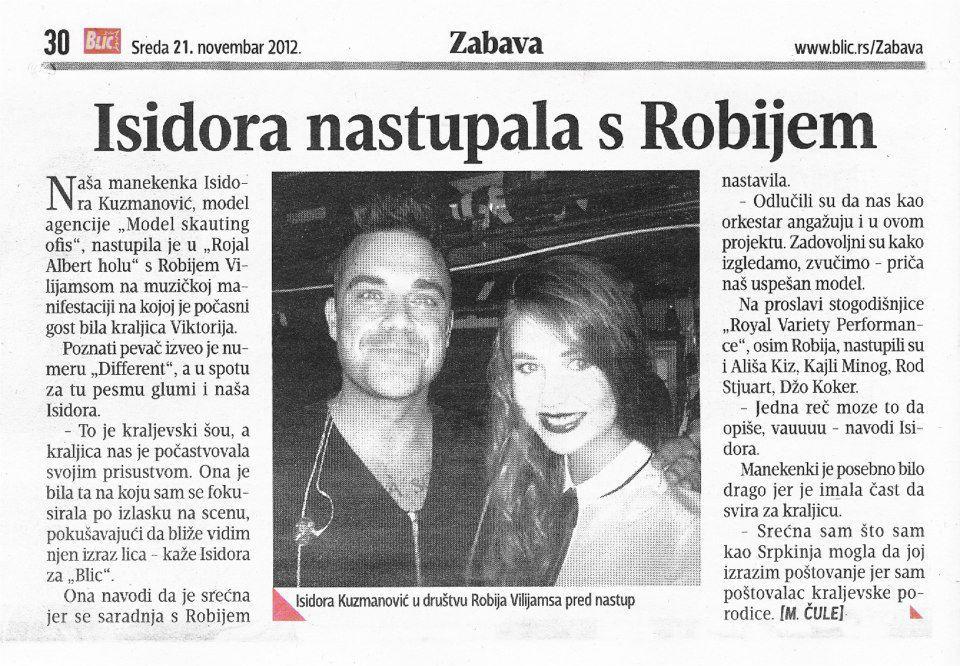 BLIC 2012. - Isidora Kuzmanovic nastupala sa ROBIJEM VILIJAMSOM