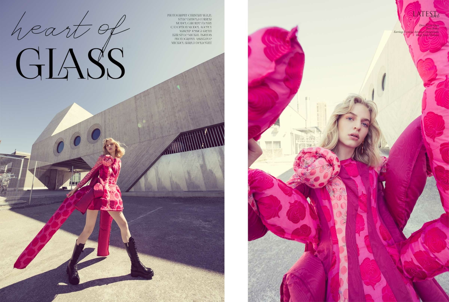 CAROLINE F for LATEST magazine HEART OF GLASS