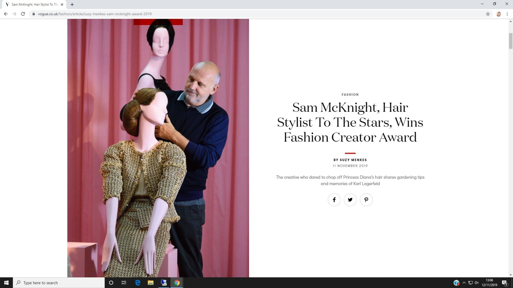 BRITISH VOGUE: SAM MCKNIGHT FASHION CREATOR AWARD