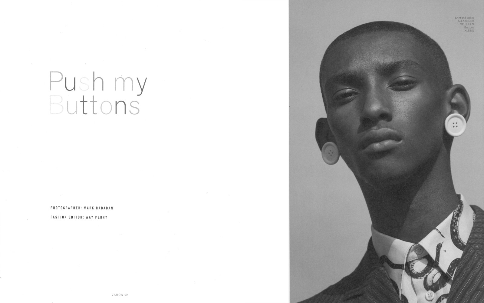 Myles Dominique for Varon Magazine cover